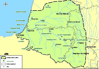 Carte du périmètre d'action du GOPA et des principaux sites ornithos